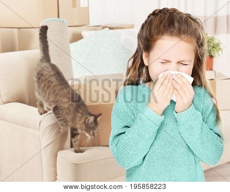 Little girl with tissue and pet on background. Concept of allergies to cats