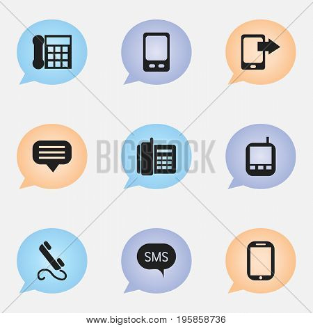 Set Of 9 Editable Phone Icons. Includes Symbols Such As Home Cellphone, Message, Phone And More