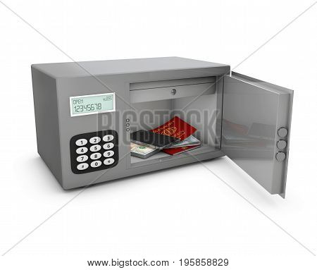 Open Safe Box With Passport, Phone And Money. 3D Illustration