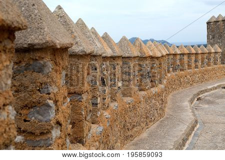 Fortification on the island of Mallorca Spain. Close-up