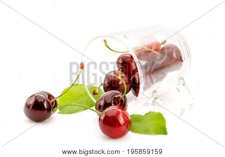 Ripe Cherry In The Cup On White Background
