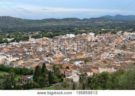 Top view of the small town on the island of Mallorca Spain