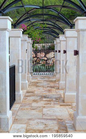 Corridor in a luxury hotel with stone floors