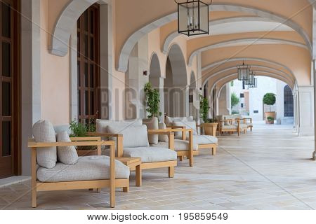 foyer of the hotel with sofas and marble floors