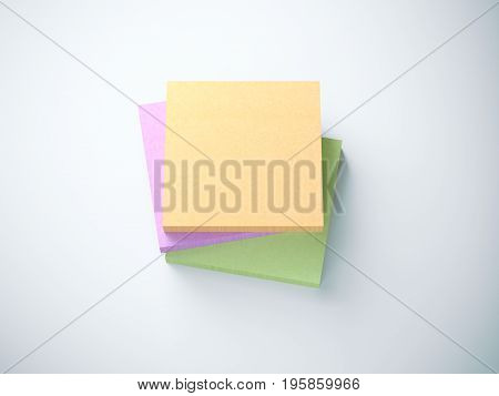 Three stacks of Sticky notes. isolated on white background. 3d rendering