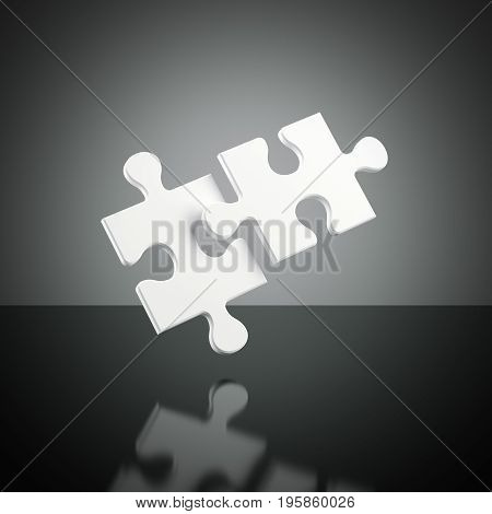 Two white puzzles isolated on dark background. 3d rendering