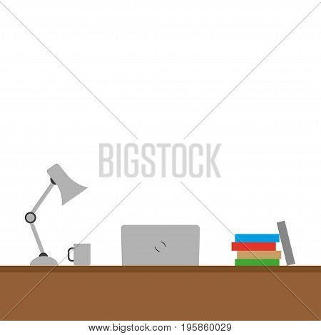 Desktop with different objects on a white background