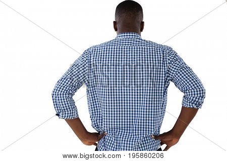 Rear view of man standing with hand on hips