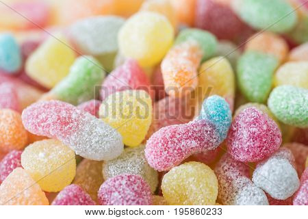 Close-up Of Colorful Candy. Composition With Tasty Jelly Candies. Fruit Jelly With Sugar-coated