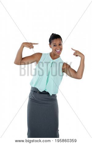 Happy woman pointing at herself against white background