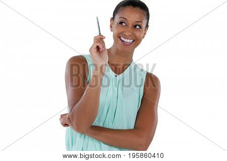 Close-up of smiling businesswoman looking sideways