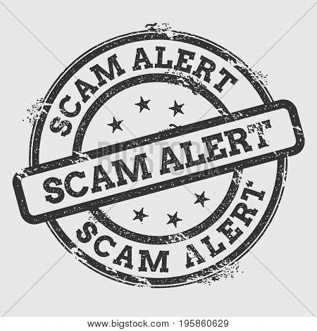 Scam Alert Rubber Stamp Isolated On White Background. Grunge Round Seal With Text, Ink Texture And S