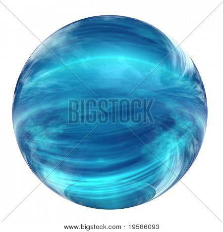 3D glass sphere isolated on white, reflecting a blue sky