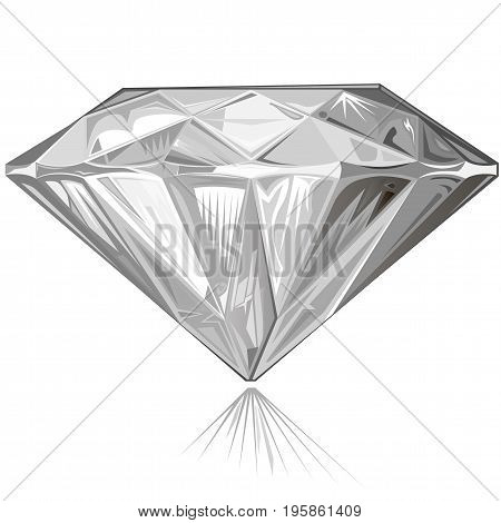 Diamond side view isolated on white background vector illustration