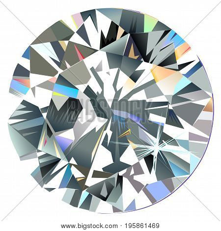 Diamond top view isolated on white background vector illustration