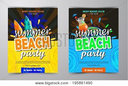 Summer Beach Party Flyer set Vector Design EPS 10