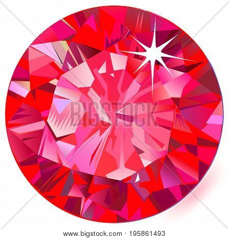 Ruby top view isolated on white background vector illustration