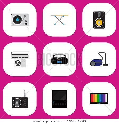 Set Of 9 Editable Technology Flat Icons. Includes Symbols Such As Cassette Player, Notebook, Cloth Iron And More