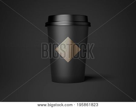 Black cup with golden diamond isolated on dark background. 3d rendering