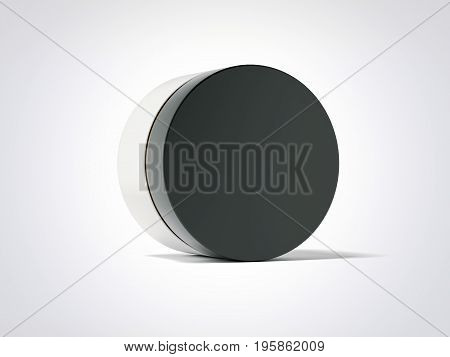 Beauty hygiene container with black cap isolated over white background. 3d rendering
