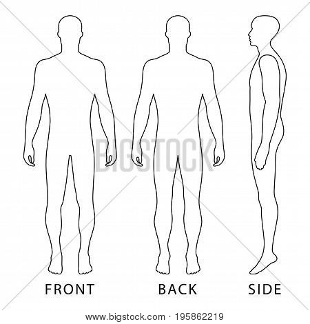 Fashion body full length bald template figure silhouette (front back and side view) vector illustration isolated on white background