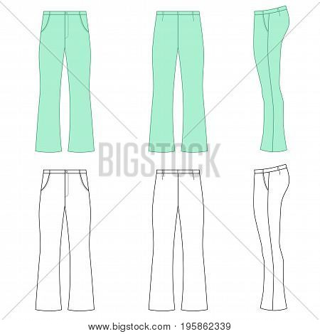 Man outlined template skinny flare pants (front side & back view) vector illustration isolated on white background