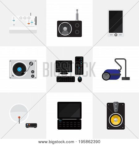 Set Of 9 Editable Tech Flat Icons. Includes Symbols Such As Antenna, Personal Computer, Notebook And More