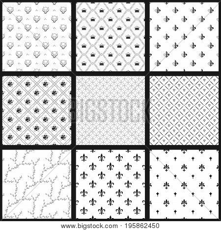 Set of vector seamless black and white patterns. Monochrome wallpapers collection. Modern stylish texture. Vector illustration. Used for wallpaper, pattern fills, web page, background, surface textures.