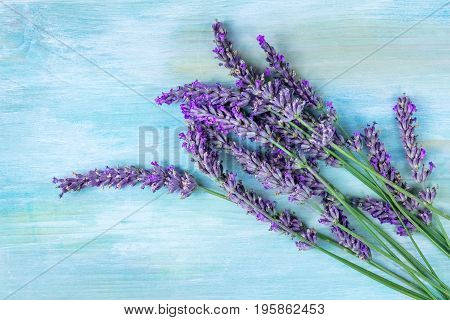 A photo of a lavender bouquet, shot from above on a teal blue background with a place for text