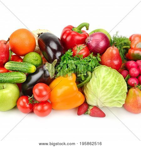 Pile of fruit and vegetables on a white background.