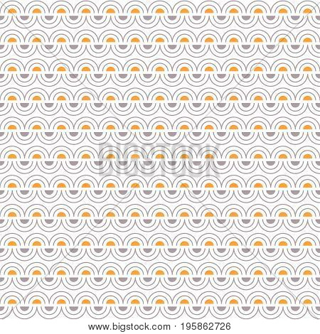 Abstract seamless pattern with regular gray arcs and yellow and gray semicircles placed in direct and inverse position on white background