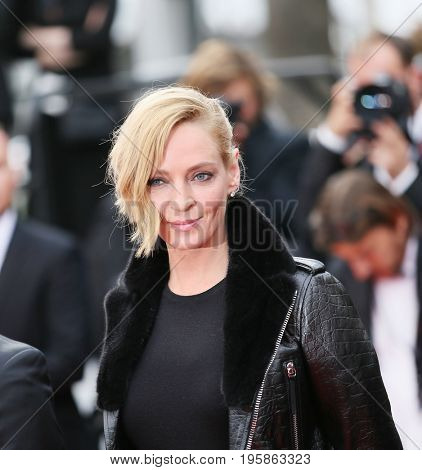Uma Thurman attends the 'Nelyobov (Loveless)' screening during the 70th Cannes Film Festival at Palais des Festivals on May 18, 2017 in Cannes, France.