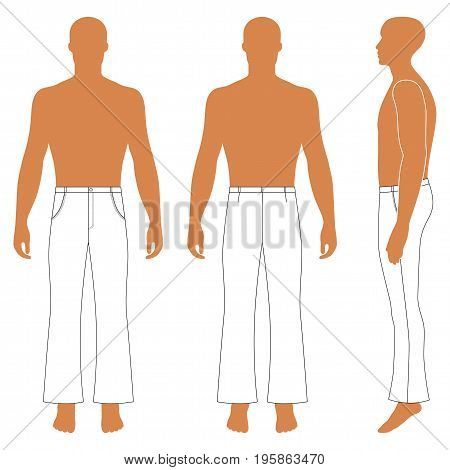 Full length man's silhouette figure in flare pants (front side & back view) vector illustration isolated on white background