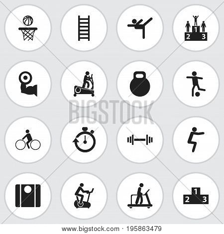 Set Of 16 Editable Fitness Icons. Includes Symbols Such As Balance, Instruction Male, Competition And More