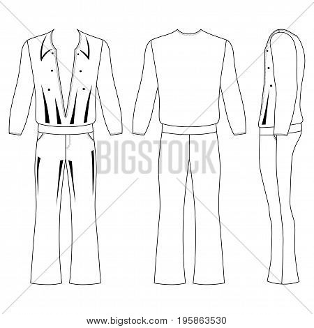 Man's flare pants and long sleeve t-shirt outlined costume template (front side & back view) vector illustration isolated on white background