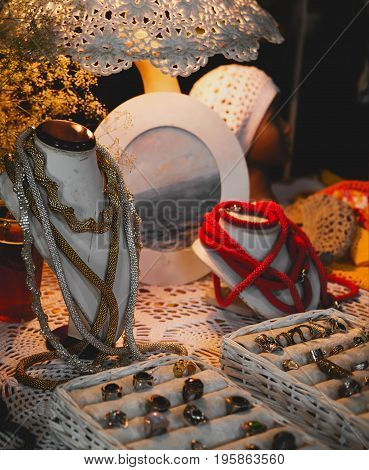 jewelry market with rings necklaces and traditional souvenirs