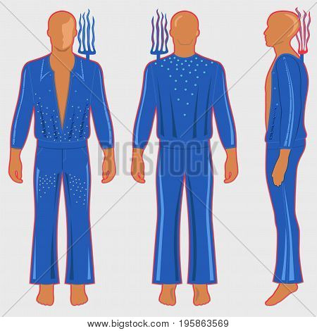 Man's silhouette in ballroom dancing costume: long sleeve t-shirt outlined and flare pants (front side & back view). Behind his shoulders is the electric feeler rake. Vector illustration isolated on light background