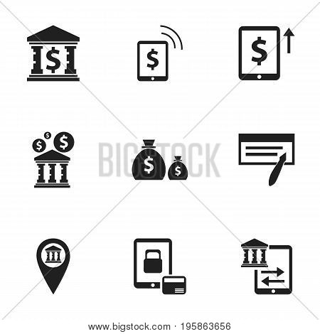 Set Of 9 Editable Financial Icons. Includes Symbols Such As Cash Growth, Building, Pinpoint And More