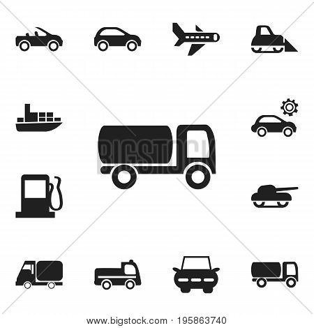 Set Of 12 Editable Transport Icons. Includes Symbols Such As Airplane, Garage, Carriage And More