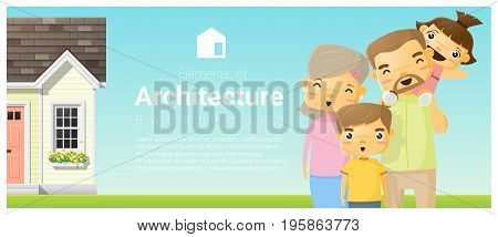 Happy family standing outside their house background , vector , illustration