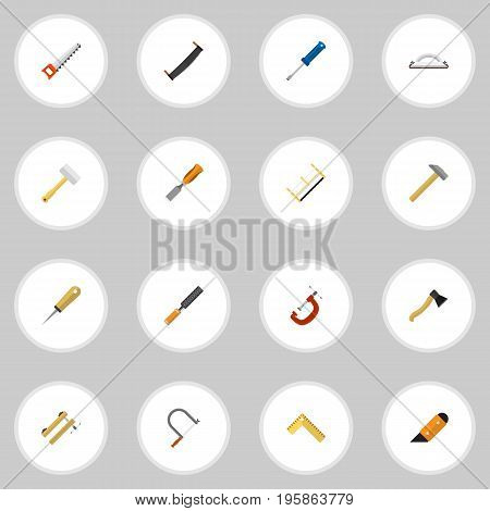 Set Of 16 Editable Instrument Flat Icons. Includes Symbols Such As Clamp, Clinch, Saw And More