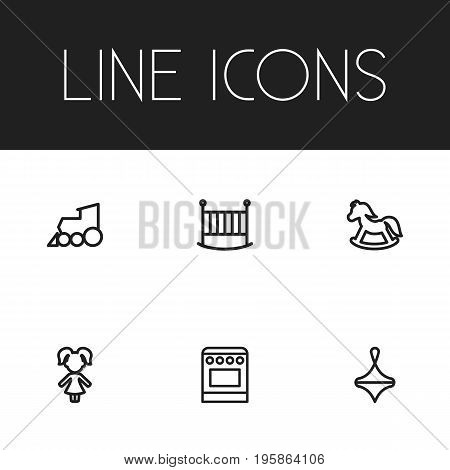 Set Of 6 Editable Family Outline Icons. Includes Symbols Such As Bedstead, Stove, Locomotive And More