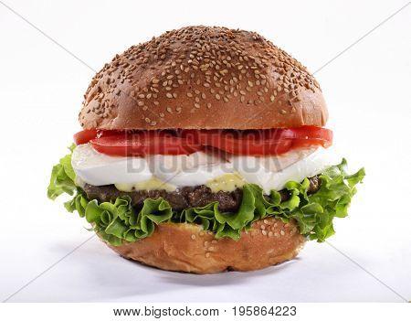 Mozzarella cheese burger isolated on white background.