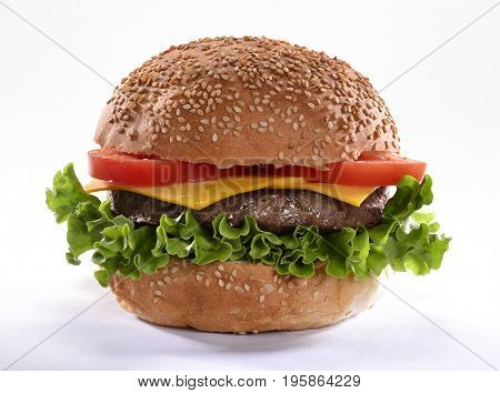 Cheddar cheese burger isolated on white background.