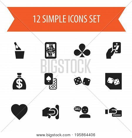 Set Of 12 Editable Business Icons. Includes Symbols Such As Gambling Cube, Blackjack, Talking And More