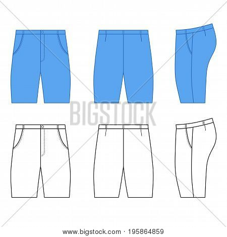 Man outlined template of skinny briefs (front side & back view) vector illustration isolated on white background