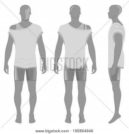 Man's silhouette in summertime clothes: short sleeve t-shirt and briefs (front side & back view). Vector illustration isolated on white background