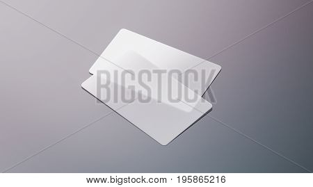 Blank plastic transparent business cards mock up 3d rendering. Clear pvc namecard mockup with rounded corners. Empty acrylic horizontal customer pasteboard template for your logo presentation.