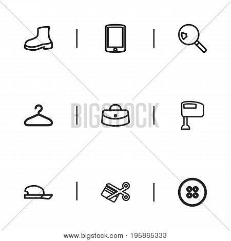 Set Of 9 Editable Business Outline Icons. Includes Symbols Such As Search, Hand Mixer, Smartphone