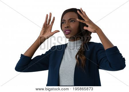 Close up of frustrated businesswoman against white background